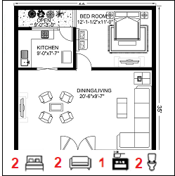22X35 Ghar-006 Floor Plan Small jpg