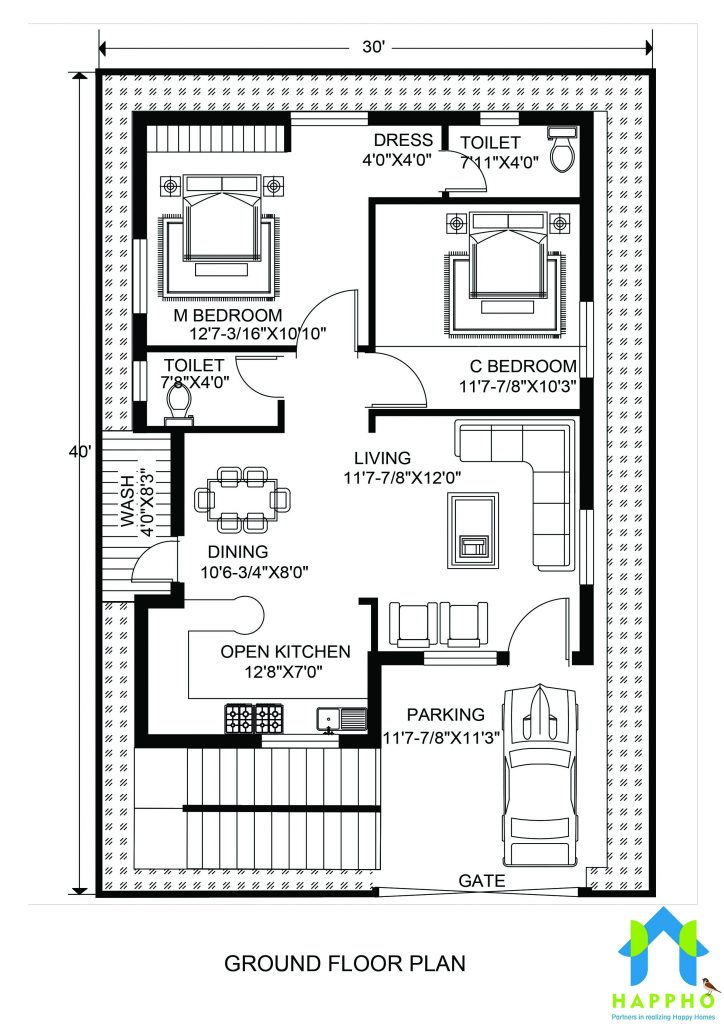 Floor Plan For 30 X 40 Feet Plot 2 Bhk 1200 Square Feet