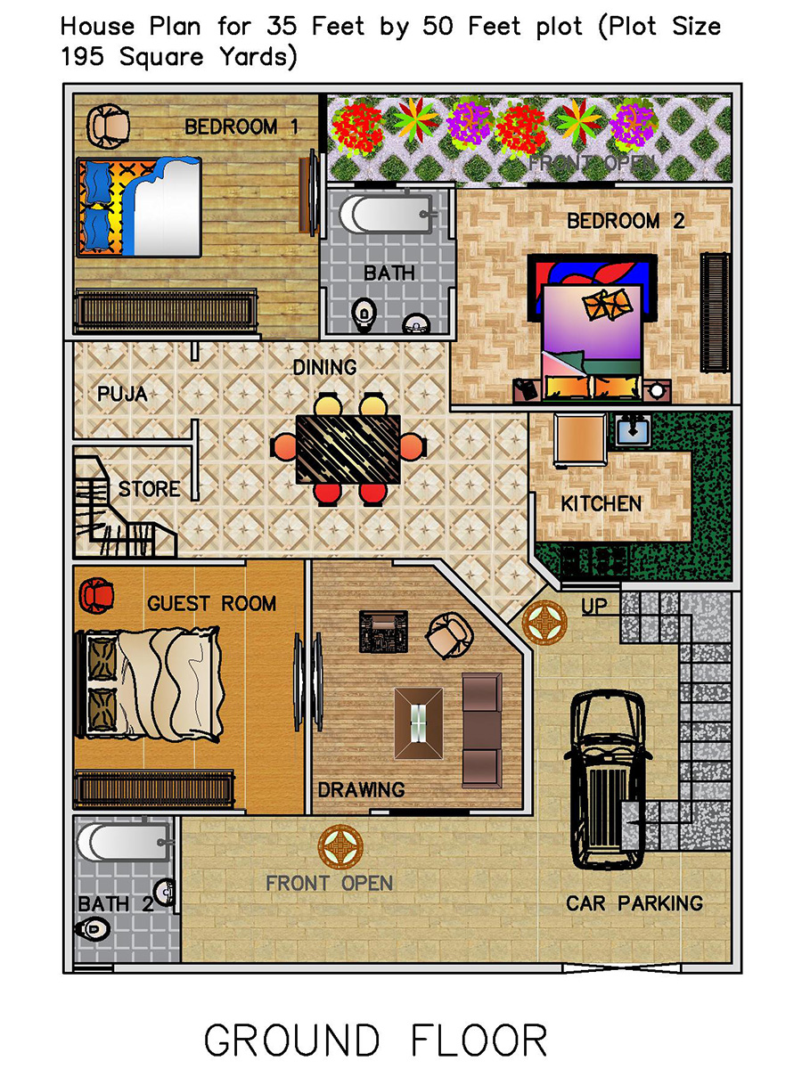 3 Bhk Floor Plan For 35 X 50 Feet Plot 1750 Square Feet