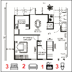 30X40 Ghar-026 Floor Plan Small jpg