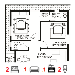 30X40 Ghar-031 Floor Plan Small jpg