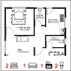 30X50 Ghar-037 Floor Plan Small jpg